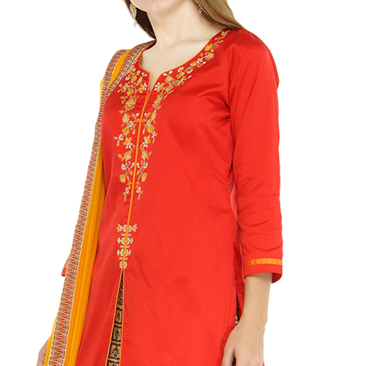 Attractive Red Colored Partywear Embroidered Tapetta Silk Dress Material
