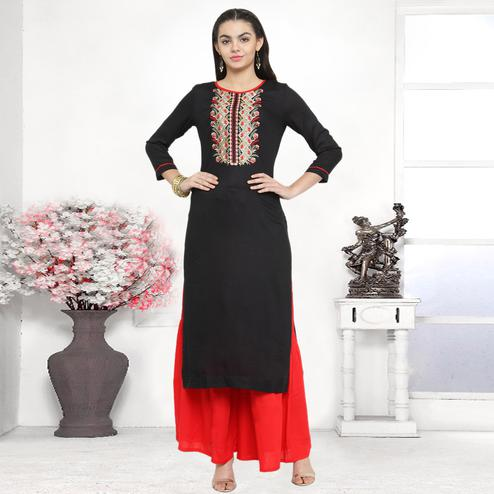 Charming Black Colored Partywear Embroidered Rayon Dress Material