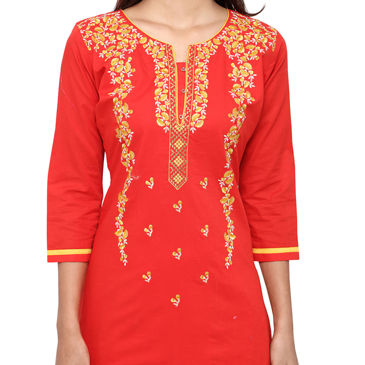 Jazzy Red Colored Partywear Embroidered Cotton Dress Material