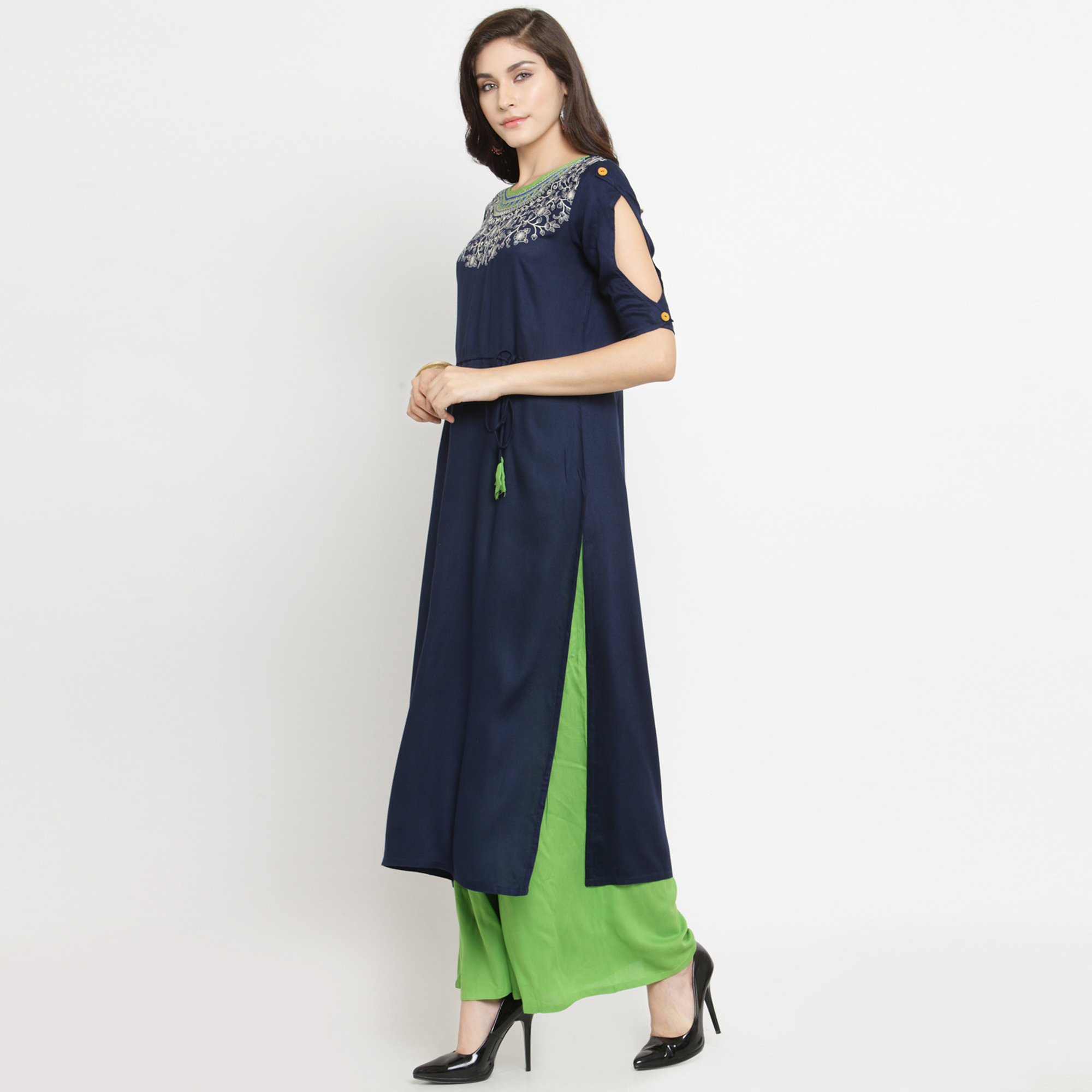 Delightful Navy Blue Colored Partywear Embroidered Rayon Dress Material