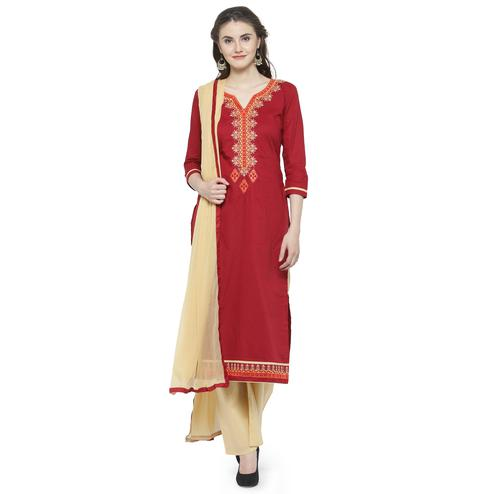 Engrossing Red Colored Partywear Embroidered Cotton Dress Material