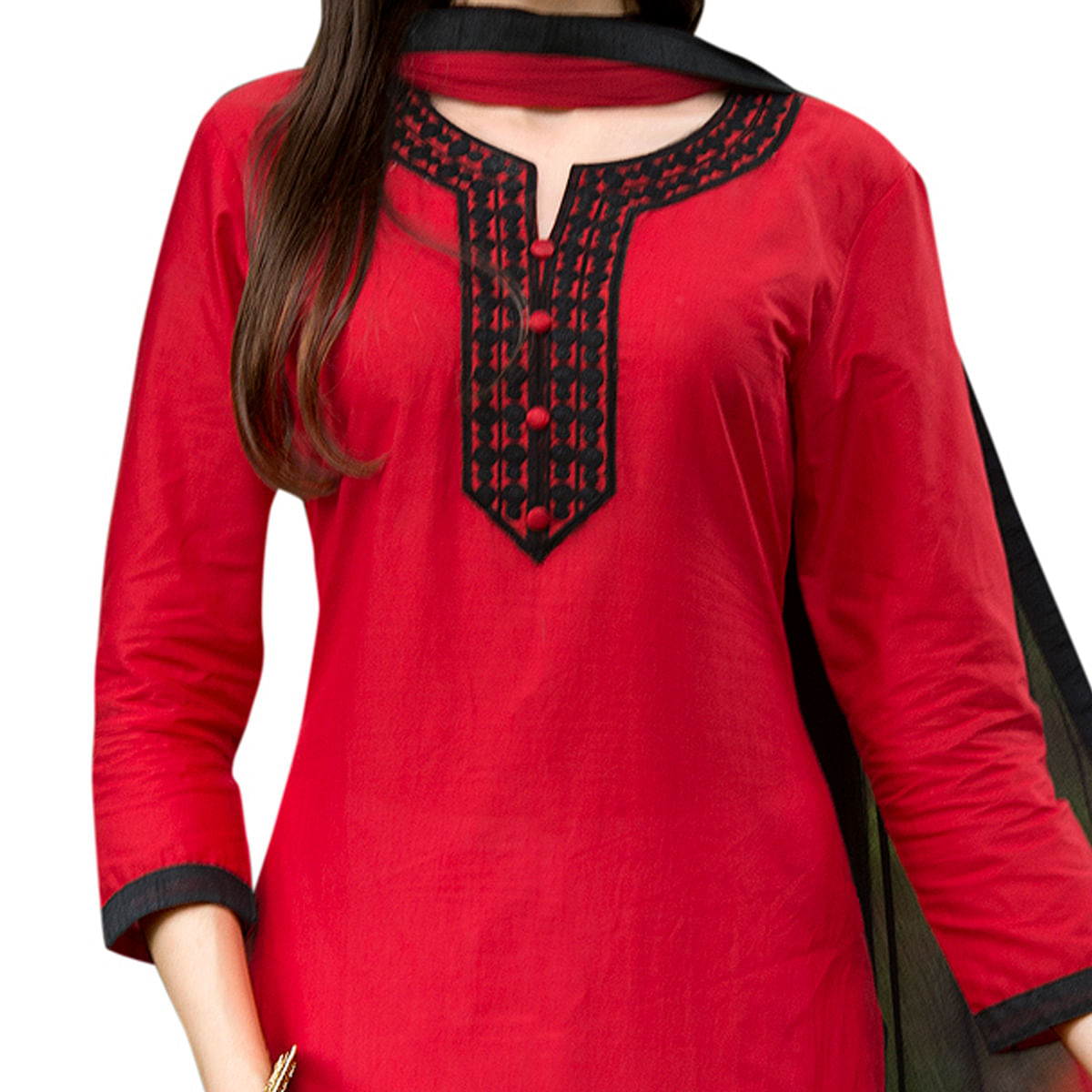 Captivating Red Colored Partywear Embroidered Cotton Dress Material