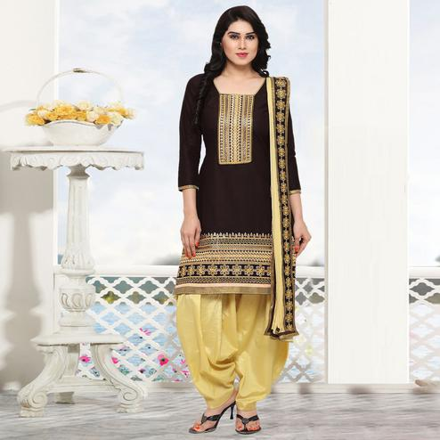 Blissful Brown Colored Partywear Embroidered Cotton Patiala Dress Material