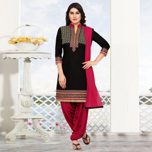 Ideal Black Colored Partywear Embroidered Cotton Patiala Dress Material