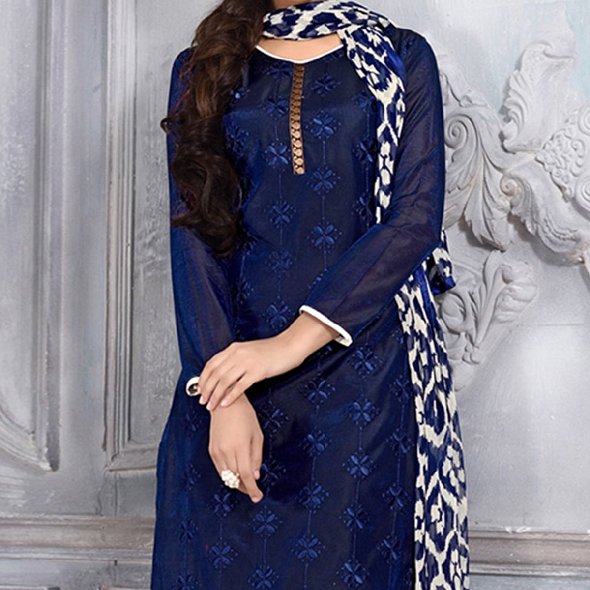 Ink Blue Chanderi Dress Material