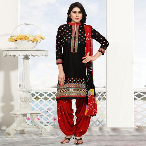 Imposing Black Colored Partywear Embroidered Cotton Patiala Dress Material