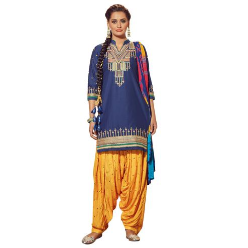 Lovely Blue Colored Partywear Embroidered Cotton Patiala Dress Material