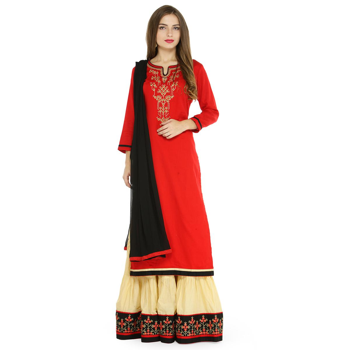 Mesmerising Red Colored Partywear Embroidered Satin Dress Material