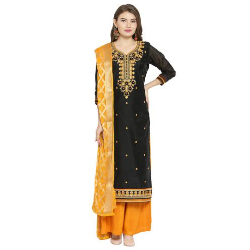Pleasance Black Colored Partywear Embroidered Chanderi Dress Material