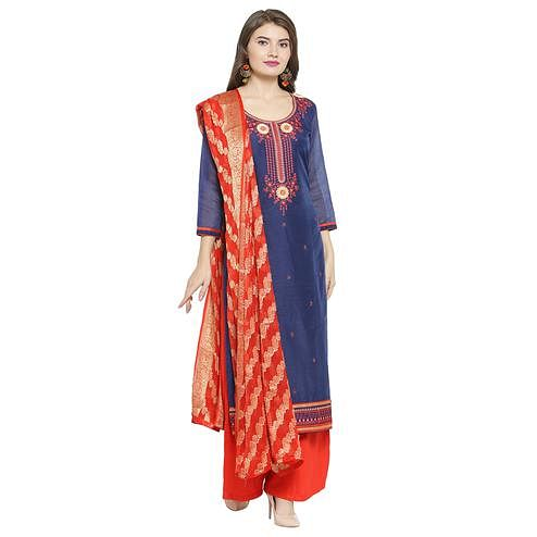 Breathtaking Navy Blue Colored Partywear Embroidered Chanderi Dress Material