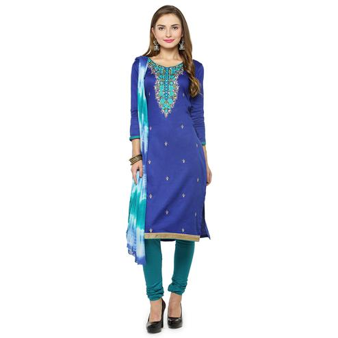 Ethnic Navy Blue Colored Partywear Embroidered Cotton Dress Material