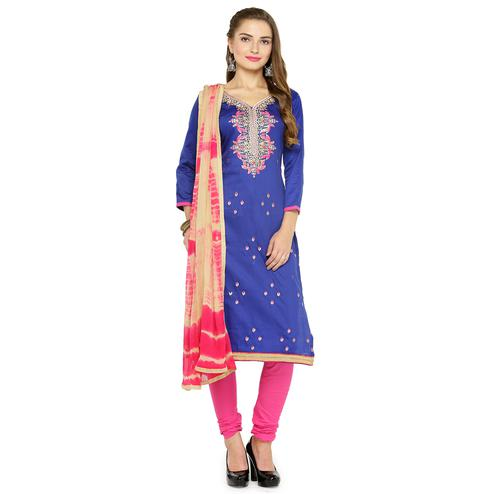 Ravishing Navy Blue Colored Partywear Embroidered Cotton Dress Material