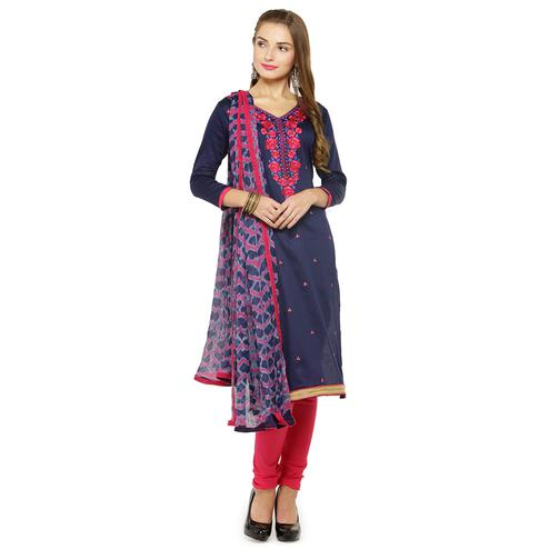 Staring Navy Blue Colored Partywear Embroidered Cotton Dress Material
