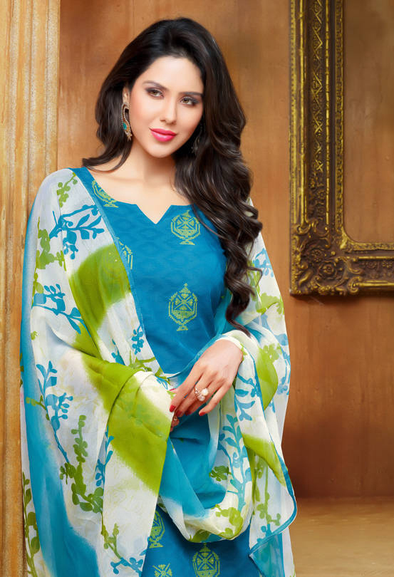 Blue Embroidered Jacquard Dress Material