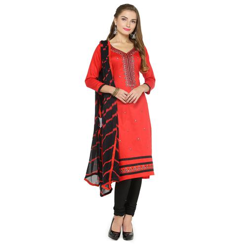 Dazzling Red Colored Partywear Embroidered Cotton Dress Material