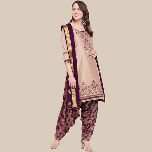 Surpassing Beige Colored Partywear Embroidered Cotton Dress Material