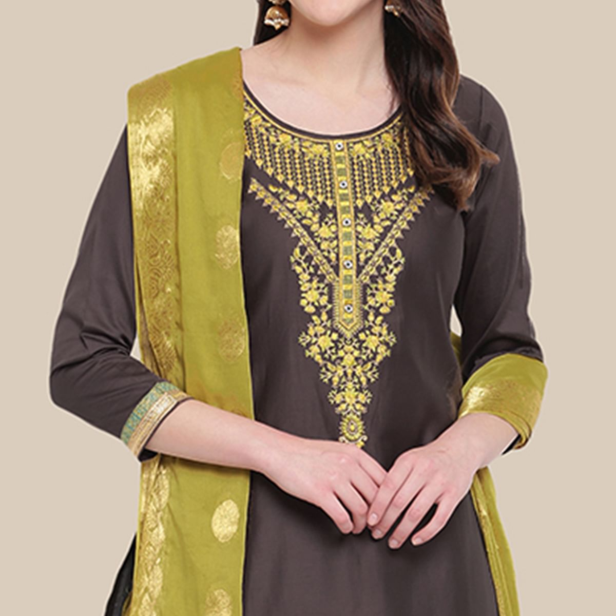 Arresting Dark Grey Colored Partywear Embroidered Cotton Dress Material