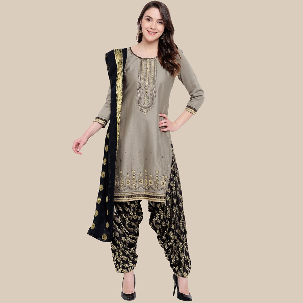 Exotic Grey Colored Partywear Embroidered Cotton Dress Material