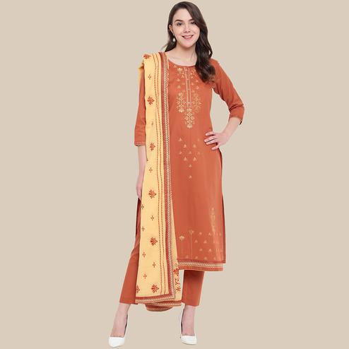 Sophisticated Orange Colored Partywear Embroidered Cotton Dress Material