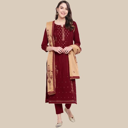 Trendy Maroon Colored Partywear Embroidered Cotton Dress Material