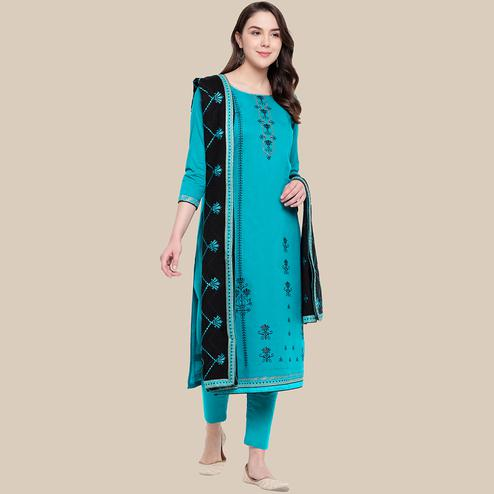 Elegant Sky Blue Colored Partywear Embroidered Cotton Dress Material