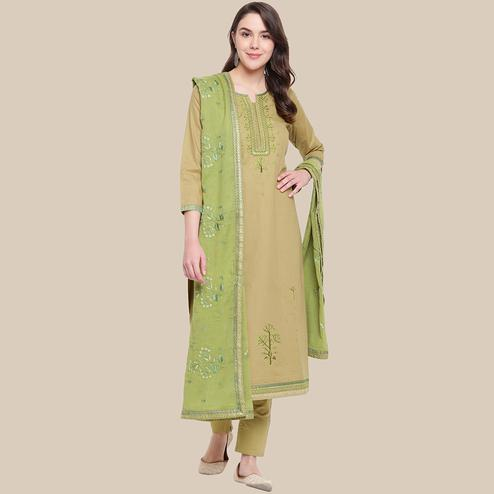 Radiant Beige Colored Partywear Embroidered Cotton Dress Material
