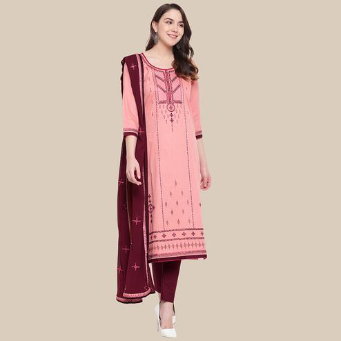 Pleasant Pink Colored Partywear Embroidered Cotton Dress Material