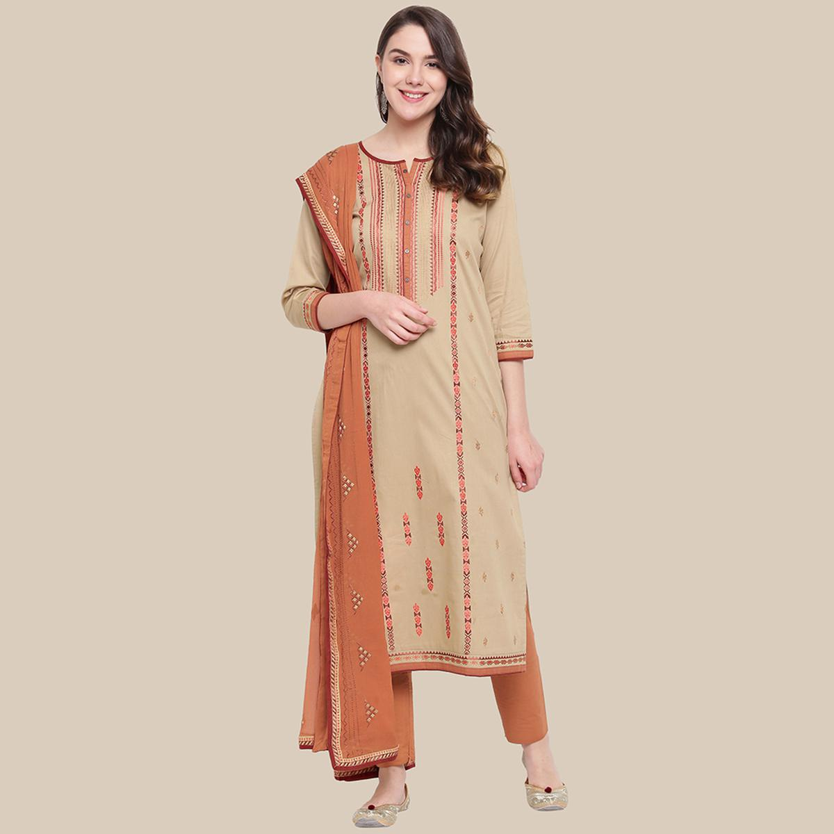 Energetic Beige Colored Partywear Embroidered Cotton Dress Material