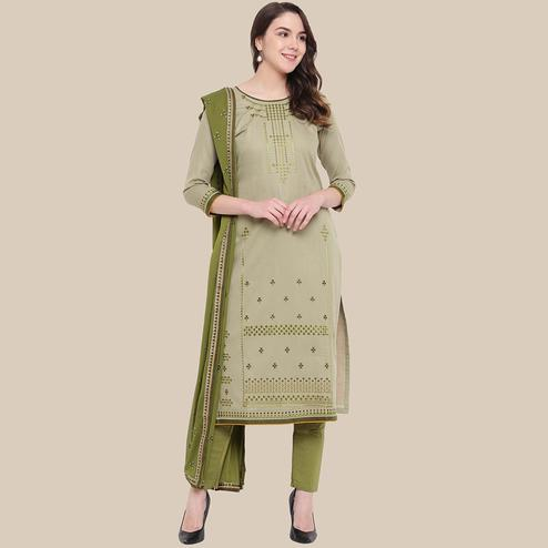 Exceptional Pastel Olive Green Colored Partywear Embroidered Cotton Dress Material