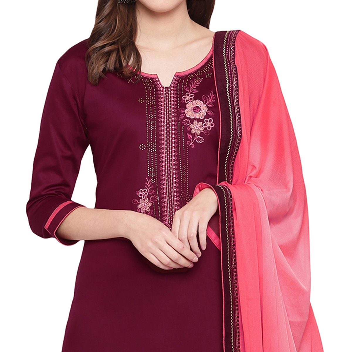 Unique Wine Colored Partywear Embroidered Silk Dress Material