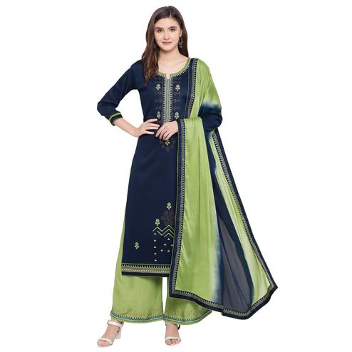 Demanding Navy Blue Colored Partywear Embroidered Silk Dress Material