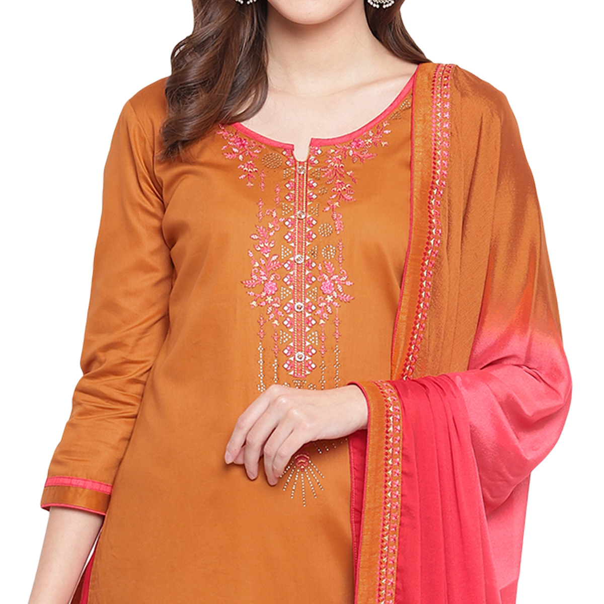 Refreshing Orange Colored Partywear Embroidered Silk Dress Material