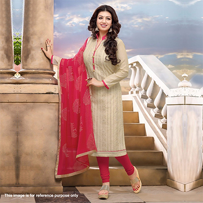 Beige - Pink Chanderi Dress Material