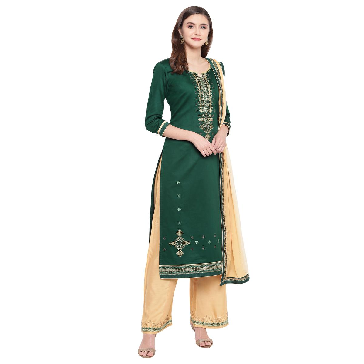 Magnetic Green Colored Partywear Embroidered Silk Dress Material