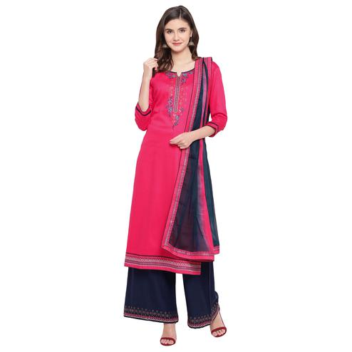 Preferable Pink Colored Partywear Embroidered Silk Dress Material