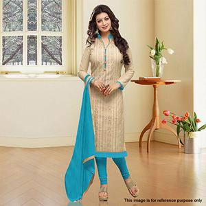 Cream Embroidered Chanderi Dress Material