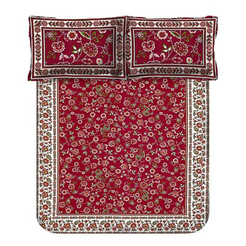 Excellent Maroon Colored Floral Printed Cotton Double Bedsheet With Cushion Cover
