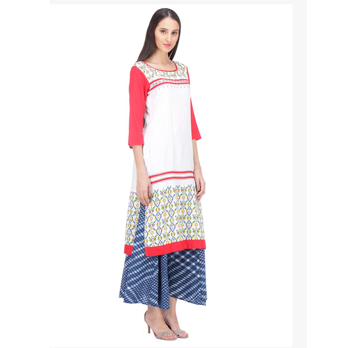 White - Red Casual Wear Printed Kurti