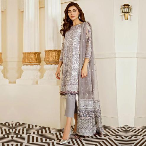 Captivating Grey Colored Partywear Embroidered Georgette Suit