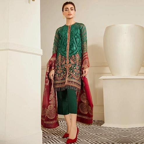 Gorgeous Green Colored Partywear Embroidered Georgette Suit