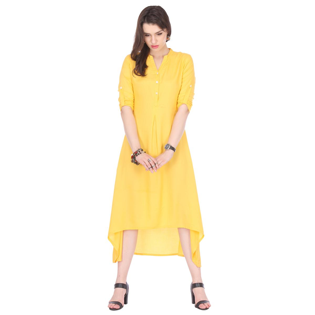 Yellow Solid C Cut Kurti
