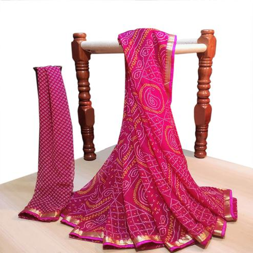 Beautiful Pink Colored Party Wear Bandhani Printed Georgette Saree