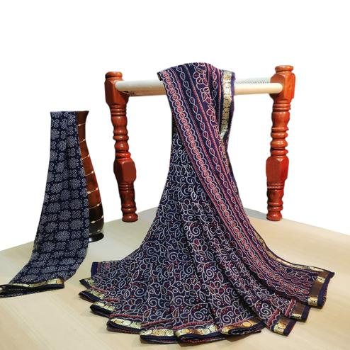 Graceful Navy Blue Colored Party Wear Bandhani Printed Georgette Saree