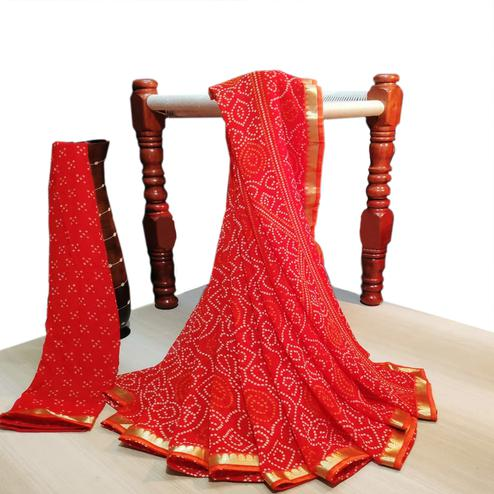 Blooming Red Colored Party Wear Bandhani Printed Georgette Saree