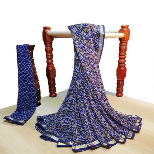 Charming Blue Colored Party Wear Bandhani Printed Georgette Saree