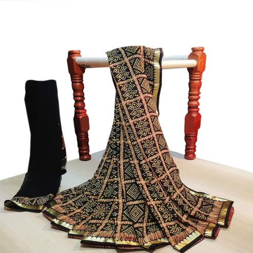Delightful Black Colored Party Wear Bandhani Printed Georgette Saree