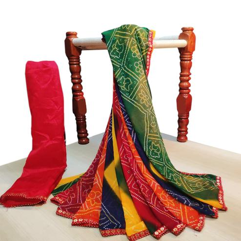 Engrossing Multi Colored Party Wear Bandhani Printed Georgette Saree