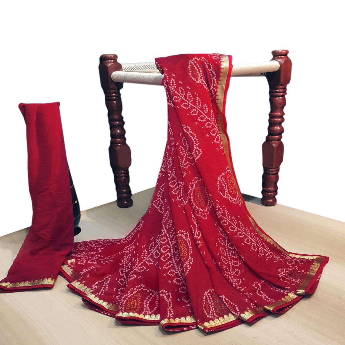 Fantastic Red Colored Party Wear Bandhani Printed Georgette Saree