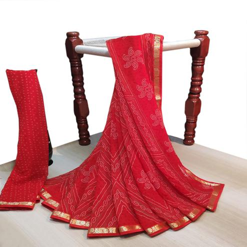 Amazing Red Colored Party Wear Bandhani Printed Georgette Saree