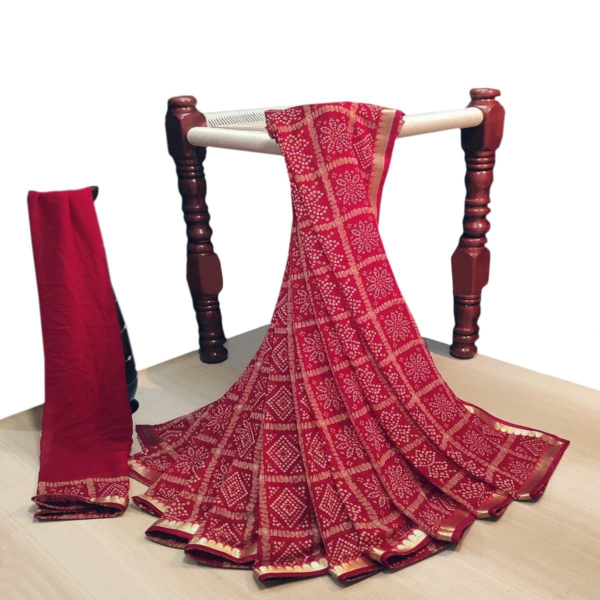 Gorgeous Maroon Colored Party Wear Bandhani Printed Georgette Saree